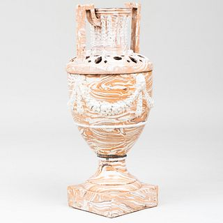 Large French Neoclassical Glazed Aptware Urn