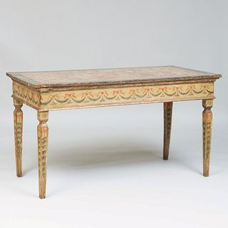Italian Late Neoclassical Faux Marble, Painted and Parcel-Gilt Center Table