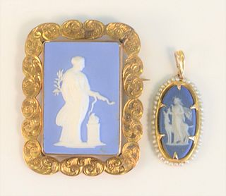 Two Wedgwood and Gold Medallionsthe larger signed 'Turner 124' with slight hairline in reverse;the smaller surrounded by pearls, signed 'Wedgwood'
