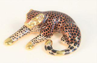 "14 Karat Gold Enameled Leopard Slide Pendant length 1 1/4"", 4.1 grams total weight"