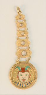 14 Karat Gold Pendant in six parts with enameled jester 11 grams length: 2-7/8 inches