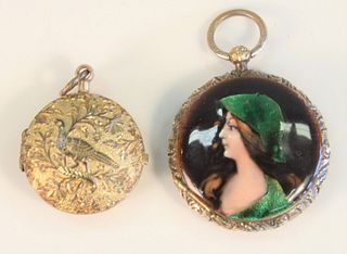 2 piece lot 14K gold and enameled locket with hinged door, along with silver Repousse locket with perforated interior door.  Hallmarked with bird and