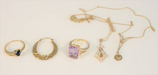 10 Karat Gold Lot two rings, two chains, earrings, and a stickpin 3.5 grams total weight