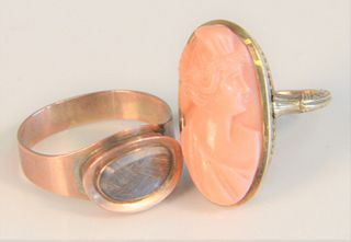 """Three Victorian Rings to include; one 14 karat cameo of coral, one mounted with hair and one woven with small gold plaque sizes 4 1/2"""" and 8 1/4"""", tot"""