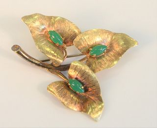 18 Karat Gold Triple Leaf Brooch each set with green stones marked Italy 8.5 grams total weight Provenance: From the Lance & Irma Keller Collection, B