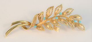 18 Karat Gold Brooch with leaves and six small turquoise length 2 3/4 inches, 11.2 grams total weight Provenance: From the Lance & Irma Keller Collect