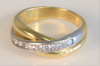 18K gold and platinum ladies band, channel set with diamonds, total .40 carats, size 6, 7.6 grams total weight