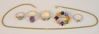 14K gold lot, four rings set with stones, round pink stones, and flat chain, 31.7 grams
