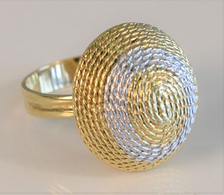 18 Karat Gold Ring  with coiled dome top of white and yellow gold size 7, 7.9 grams Provenance: From the Lance & Irma Keller Collection, Bloomfield, C