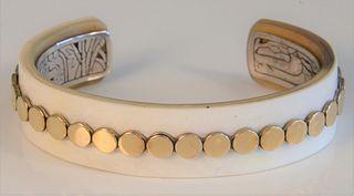 John Hardy 18 Karat Gold Sterling and Horn Bracelet marked to the inside