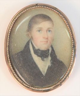 """Miniature Painting of a Gentleman in a gold case with hair in back pin missing 2"""" x 1 1/2"""" Provenance: From the Lance & Irma Keller Collection, Bloomf"""