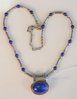 Sterling and 14 Karat Gold, Silver, Lapis Necklace monogrammed FPT, maker Frank Patania, Jr. length 18 inches