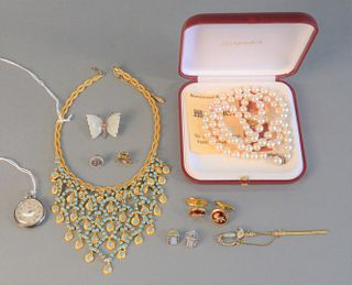 Jewelry Lot  to include Majorica pearl necklace, bib necklace, cufflinks, sword pin watch, one sterling and hardstone butterfly pin