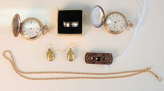 Seven Piece Lot  to include two Elgin small closed face watches; one Titanium and 18 karat band; one pair of earrings; one Victorian brooch with red s