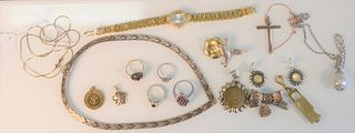 Lot of Sterling Silver Jewelry  to include wristwatch, pins, necklace, ring and chains