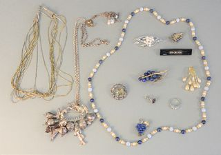 Group of jewelry, silver and costume including seven necklaces, one 3 piece set with lapis grapes, silver pin, etc.