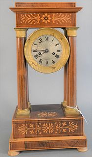 """Regency Inlaid Mahogany Mantle Clock dial marked Courtois Fontainebleau 18 1/4"""" x 9 1/2"""" x 6"""""""