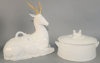 Two Large Porcelain Piecesto include a Royal Worcester covered dish with bird motif, along with a Mottahedeh porcelain stag tureen each marked to the