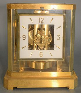 Jaeger-LeCoultre Atmos Clock brass and glass case with square face height 9 1/4 inches