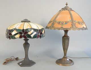 Two Table Lamps to include small table lamp having six reverse painted panels height 22 2/1 inches, diameter 16 inches along with leaded glass lamp he