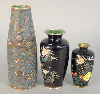 Three Cloisonne Vases to include one having crane and wildflowers, one small enameled vase with bird and flowers, signed on bottom along with a 19th c