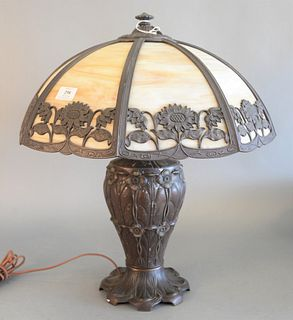 Miller Slag glass panel shade table lamp and base with flower motif, height 22 inches, diameter 19 inches