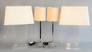 2 Pairs of Table Lamps to include pair Crystal Table Lamps height 29 inches, along with a pair of Chrome Table Lamps with square bases, height 27 1/2