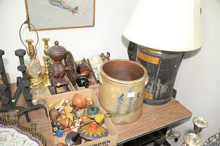 Large Group of Assorted Items  to include figural wood carved corks; wooden tops; iron coffee grinder; tole tray; brass candlesticks; oil lamp; glass