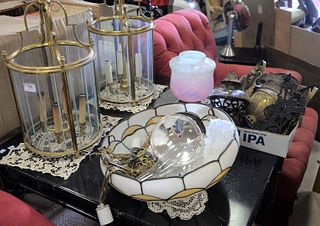 Large group of lighting to include pair of brass and glass hanging lights, leaded glass table lamp (as is), lamp base, Victorian hanging lamp, pair of