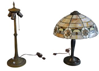Two Piece Lot  leaded glass table lamp and panel shade base (leading at top pulling away) height of base 25 inches Provenance: Thirty-five year collec