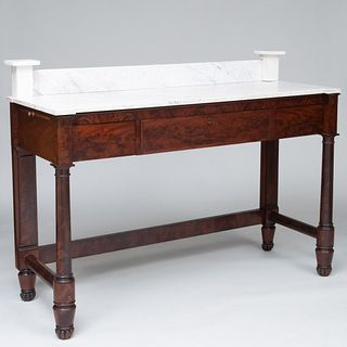 Tall Federal Mahogany and Marble Sideboard