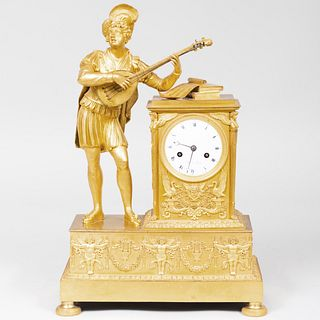 Empire Ormolu Figural Mantel Clock