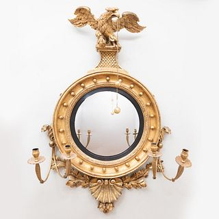 Fine and Large Regency Giltwood Convex Girandole Mirror, Irish