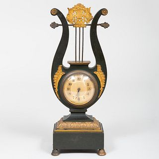 Small Late Federal Patinated Gilt-Bronze Lyre Form Mantel Clock