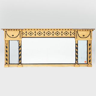 Federal Giltwood and Black Painted Three Part Over Mantel Mirror