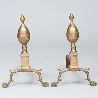 Pair of Federal Style Brass Lemon Top Andirons