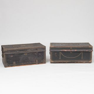 Group of Three Brass-Studded Trunks, One with Makers Label of Robert Burr and Deborah Foby, N. Bedford