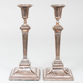 Pair of Sheffield Plate Candlesticks