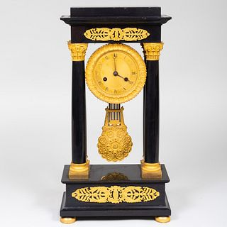 Empire Ormolu-Mounted Marble Mantel Clock