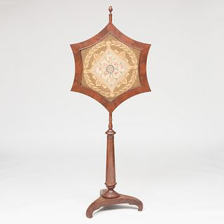Federal Mahogany and Needlework Pole Screen