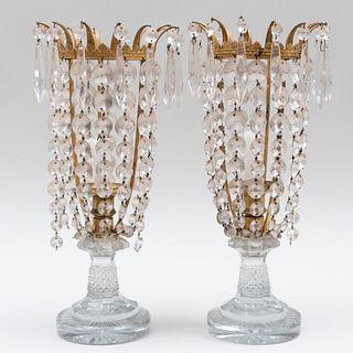 Pair of Ormolu and Cut Glass Candlesticks