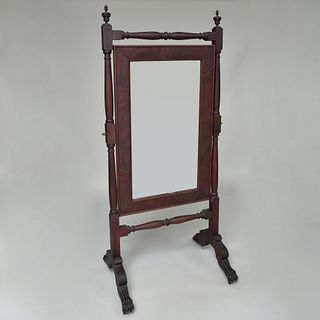 Late Federal Mahogany Cheval Mirror