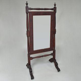Late Federal Mahogany Cheval Mirror