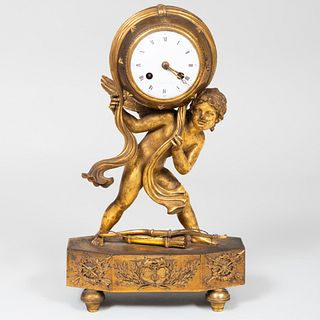 Empire L. Grognot Gilt-Bronze 'Love Moving the Heavens' Mantle Clock