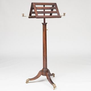 Regency Brass-Mounted Rosewood Double-Sided Music Stand