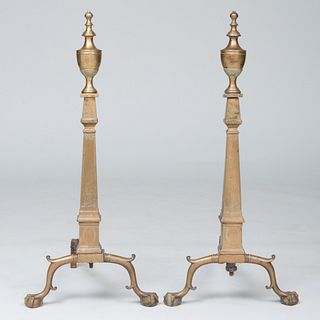 Pair of Federal Style Tall Brass Urn Top Engraved Andirons