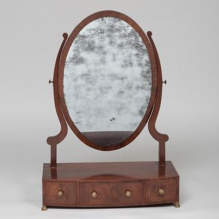Large Federal Mahogany Dressing/Shaving Mirror