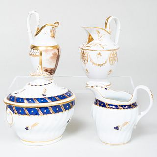 English Porcelain Cream Jug and Sugar Bowl and Two Paris Porcelain Cream Jugs