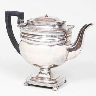 Sheffield Plate Teapot with Hinged Cover
