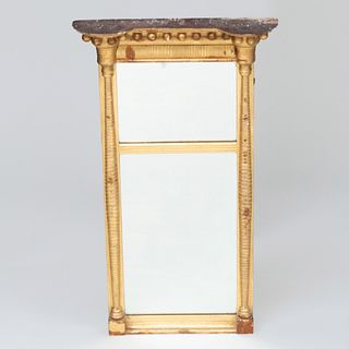 Small Federal Giltwood Two Part Mirror